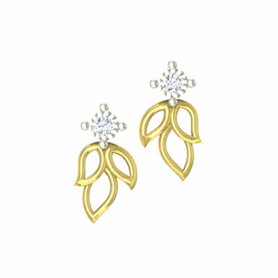 Leaf shaped gold stud with diamond in india at its best price at augrav.com. Best collections for indian girls