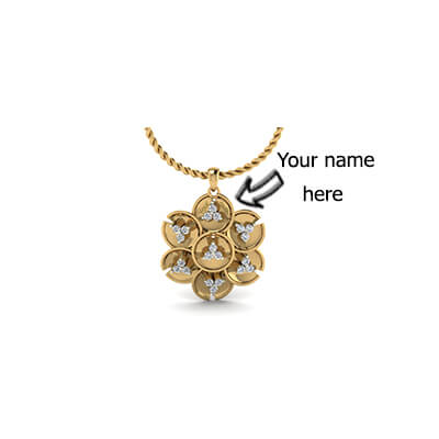 Custom flower diamond pendant with name engraving on top of it in online