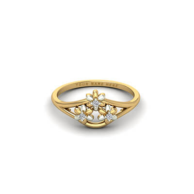 Make Your own custom diamond engagement ring with name engraved in yellow and white gold