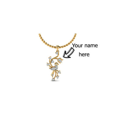 Diamond pendant designs with name engraved for women and girls in india