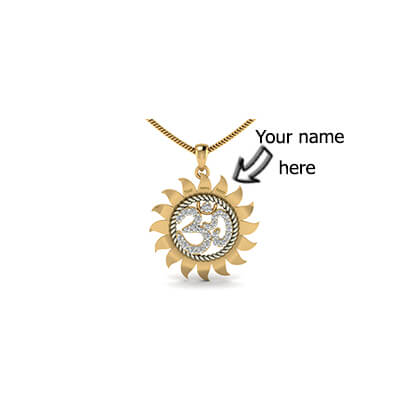 Customized Ohm diamond pendant with name for men and women in online. Available in 18K and 22K