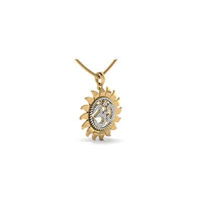 Customized Ohm gold pendant for women in yellow gold with solitaire diamond. Best designs at best price at augrav.com