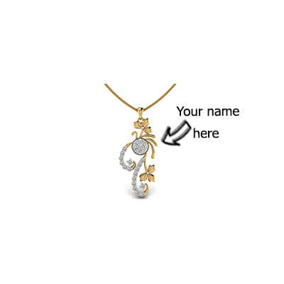 Womens personalized diamond pendant in 18k and 14k yellow gold with solitaire diamond. Best design and price in online at augrav.com