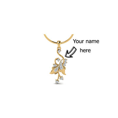 Personalized gold pendant with childrens name in 18k and 22K at its best price in online at augrav.com