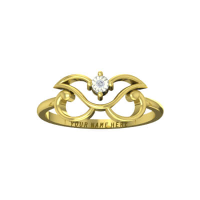 Gold engagement rings for couple with name