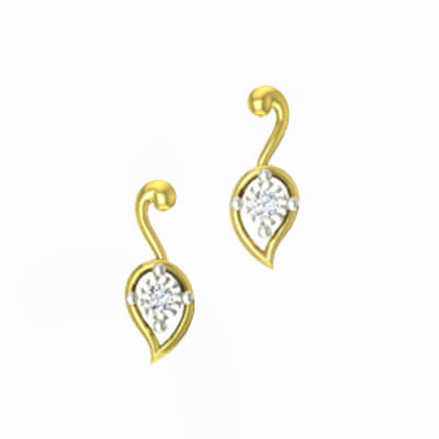 22K Yellow gold diamond stud earring for college girls and housewifes in india