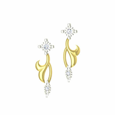 Simple gold and diamond earring for women,wife,her and daughter. Free shipping across chennai,mumbai,and delhi