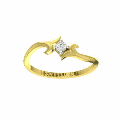 Plain wedding ring for men with name. Engrave his name on gold ring in 18k or 22k