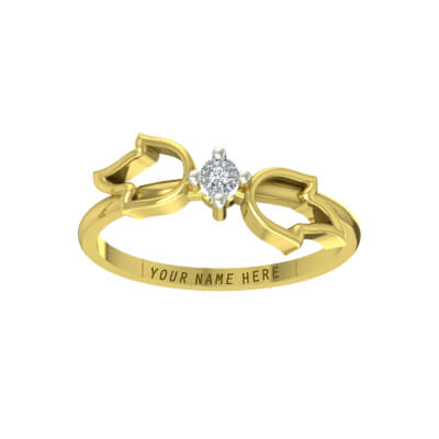 Gold Wedding rings with name with single diamond for men and women. Available at best price