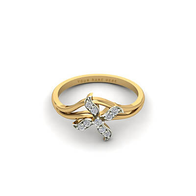 Floral diamond ring with name engraved for couple and bride and groom. Personalize with name engraved inside it