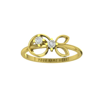 Couple gold rings for engagement in yellow gold and diamond ring. Customize with your name on it