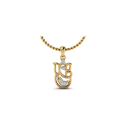 Ganesha gold pendant with your name augrav personalized ganesh pendant in gold for men with pure diamond in online at augrav at best prices mozeypictures Image collections