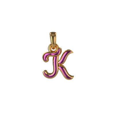Your initial pendant with letter K online at augrav.com