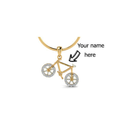 Kids diamond pendant with name engraving in online india with pure diamond. Avaialble in 18k and 22K