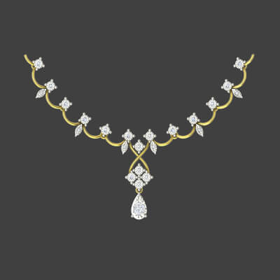 simple gold diamond necklace for indian bride with best pricing in online