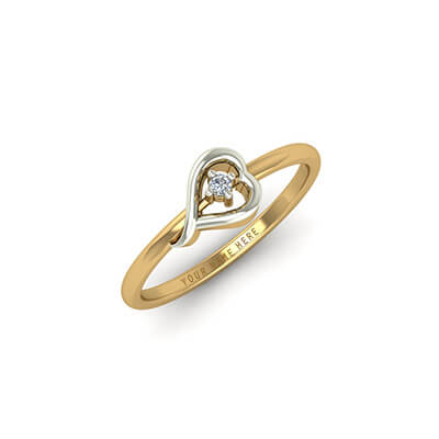 Heart shaped custom diamond ring with diamond in the center in 18k and 22k