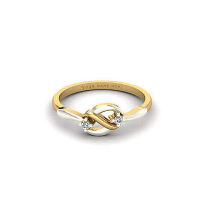 Infinity diamond and gold custom ring. Unique design with name engraved