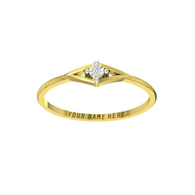 22k yellow gold diamond ring with name engraved for indian men and women