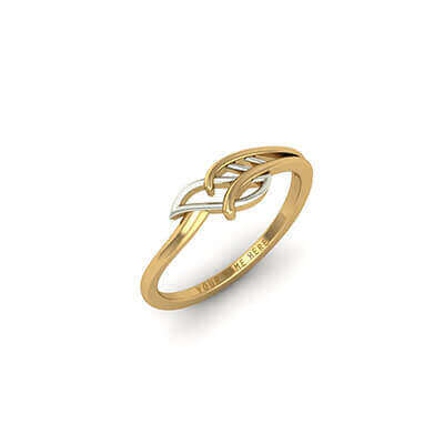 Leaf Gold Name Ring AuGrav
