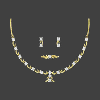 bridal necklace and earring sets for indian women with personalized ring. Available in 22k,18k and 14k
