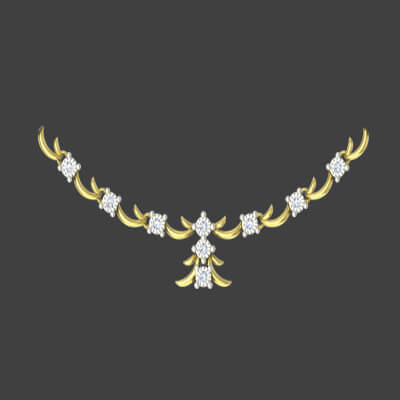 diamond necklace designs for girls in yellow gold in 18k and 22l. Free shipping across india,chennai,mumbai