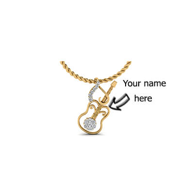 Gold pendant with your childrens name on guitar. Available in 18k and 14K yellow gold