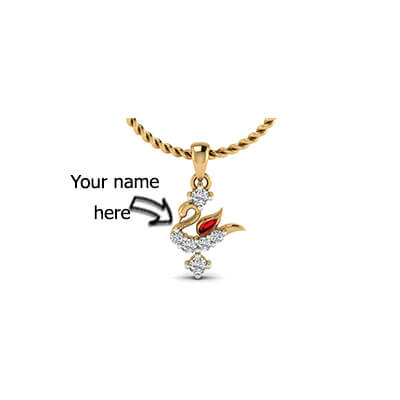 Personalized name pendants for kids in yellow gold with pure diamond