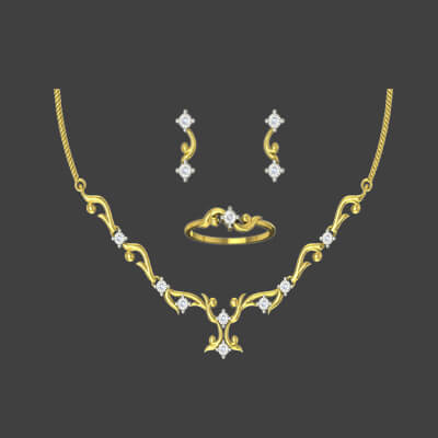 Unique diamond necklace set designs with name engraved ring and gold diamond earring in 18k and 22k