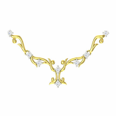 White stone necklace designs in gold with pure diamond in 18k and 22k