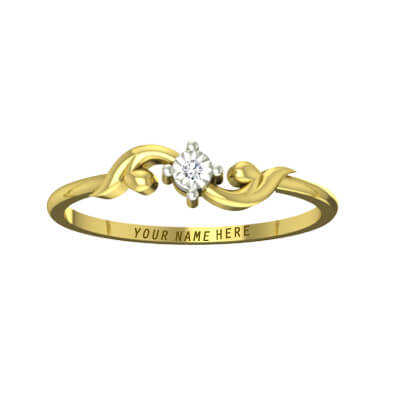 Wedding ring designs with name in yellow gold with single diamond