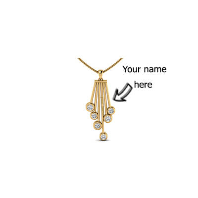 Gold name pendant india with pure diamond. Free shipping in chennai,delhi,mumbai,pune,coimbatore
