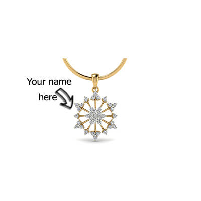 Gold pendant with name for men in yellow and white gold. Free shipping in chennai,bangalore,mumbai, and pune