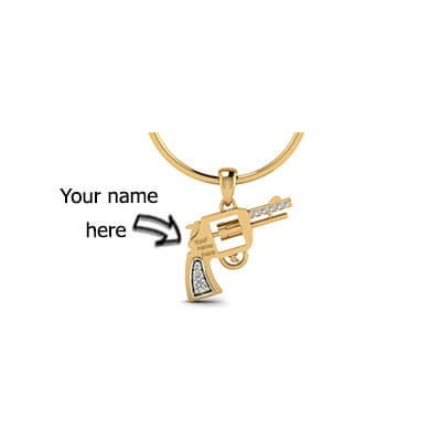 Customized designer gold pendant in 18K and 22K with name engraving