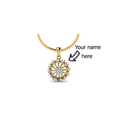 Designer diamond pendant with name in yellow gold in online india. Free shipping in delhi,pune,mumbai,kolkata,hyderabad and chennai