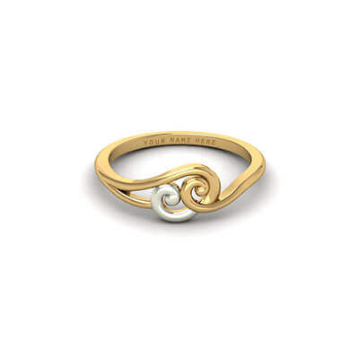 Simple yet unique custom gold ring with name written on it for your wedding and engagement