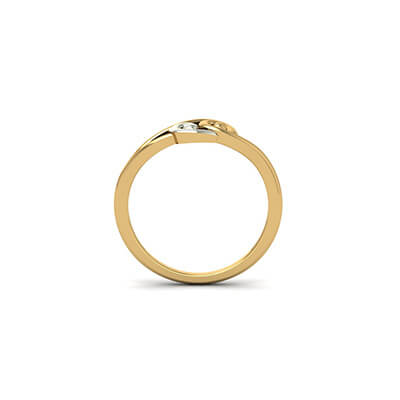 Custom made yellow gold ring with name engravable inside and outside of gold ring