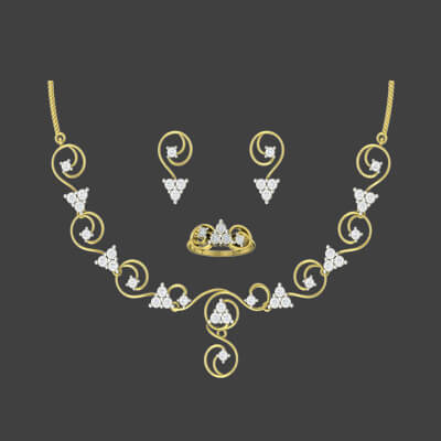 Gold necklace set design for wedding with earring and custom made ring