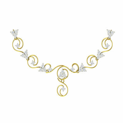 Indian gold necklaces for women in 18k and 22K with pure diamonds