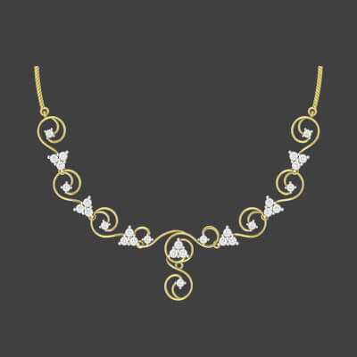 Light weight diamond necklace for wedding and engagement online. Available in 18K and 22K