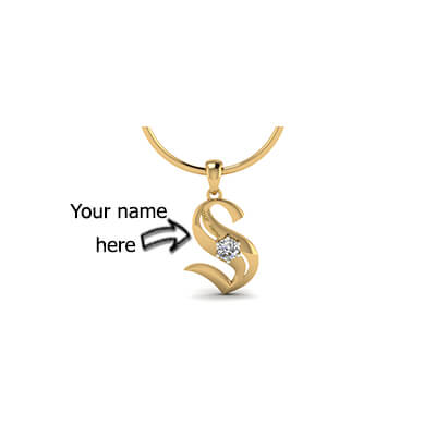 Custom made Alphabet S pendant with single stone in 18k and 22k yellow gold. Free shipping in chennai,bangalore,delhi,mumbai, and pune