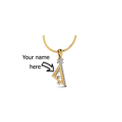 Customized diamond pendant with name engraving on it. Available in 18k and 22k yellow gold