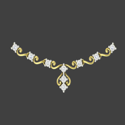 Simple gold necklace for women indian style with pure diamond for wedding and engagement
