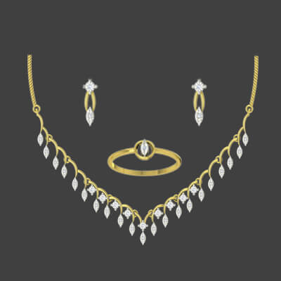 Wedding gold necklace set with diamond with customized ring and simple earring for women
