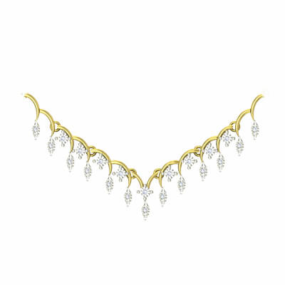 Simple necklace designs in gold india in 18k and 22k. Free shipping in 18k and 22k