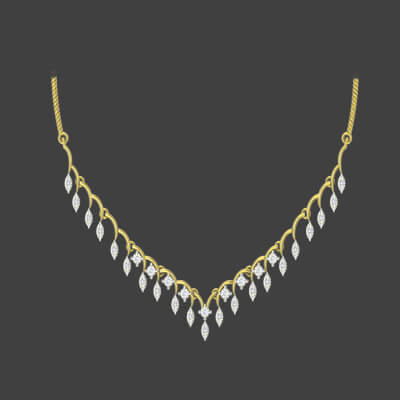 Latest gold diamond necklace designs for women for wedding and engagement