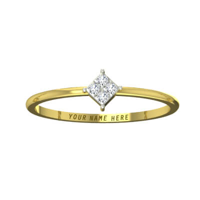 Simple diamond ring with name engraved online india. Available in yellow and white gold