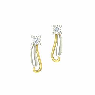 Indian gold diamond earring for women and free shipping across india. Available in 14k and 18k gold.