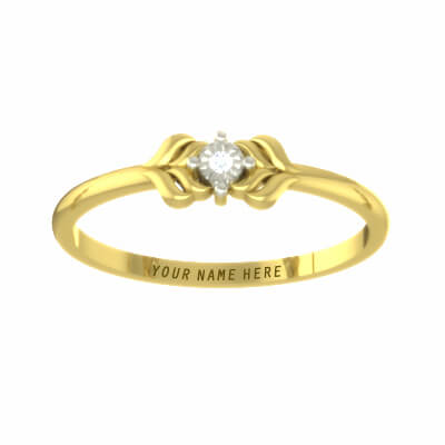 Yellow gold and diamond ring with name for him and her in india online