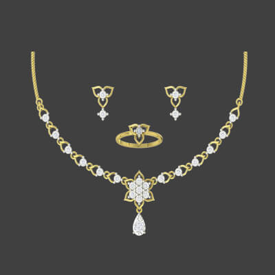 latest necklace set in gold for indian wedding for bride. Available in 22k and 18k,14K