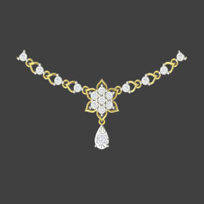 Diamond necklace for women in gold with latest designs at augrav.com